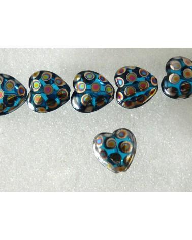 Coeur verre de Bohème bleu-paon 15mm X1