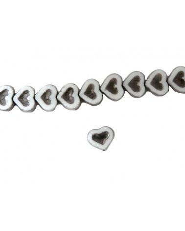 Coeur verre de Bohème blanc-argent 14x12mm X1