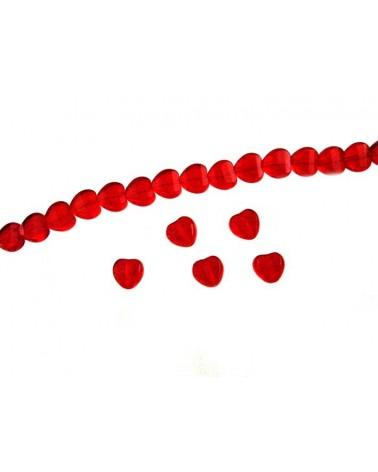 Coeur verre de Bohème rouge 8mm X1