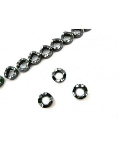 Hématite donut perle ondulée 12mm noir X1