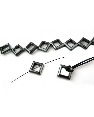 Hématite losange évidé 13mm noir