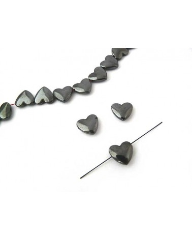 Hématite coeur bombé 12mm noir X1