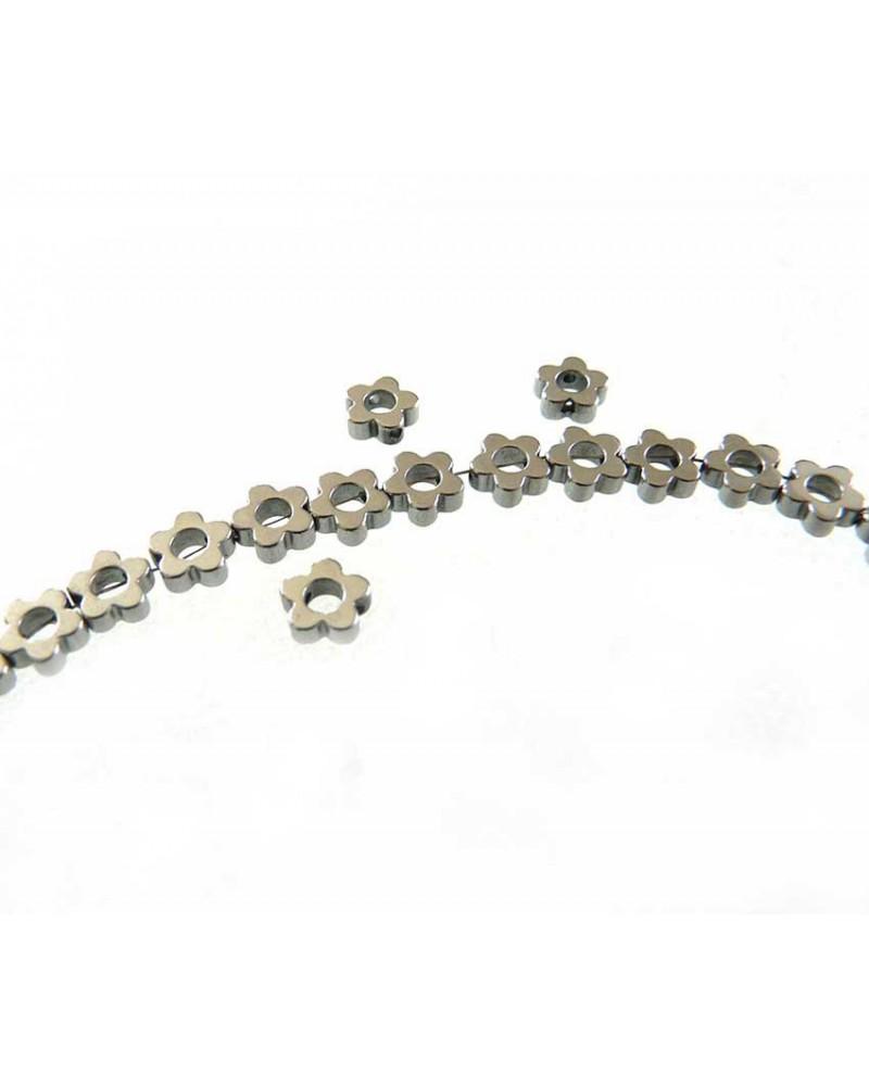 Hématite Fleur évidée 6mm  GRIS acier x 10