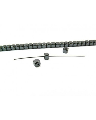 Hématite carré 4mm bord arrondi noir X 20