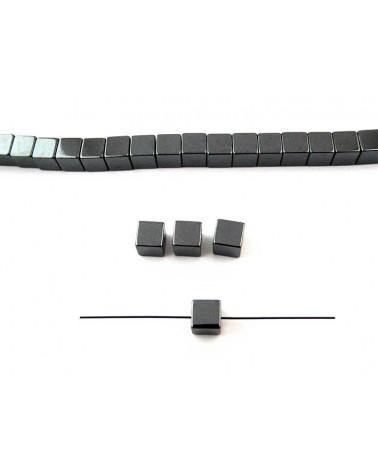 Hématite cube 6mm noir X1