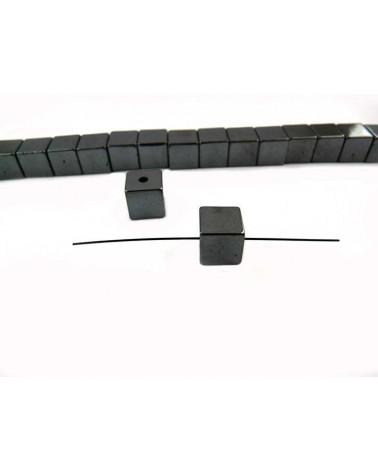 Hématite cube 8mm noir X 5
