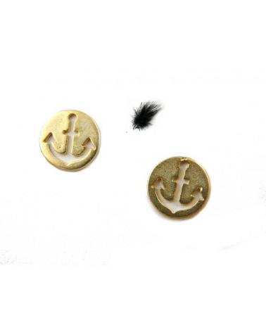 Ancre de marine 12mm sequin doré  x 1