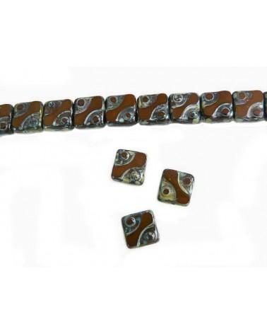 Bohême carré 10mm oeil brun X 4