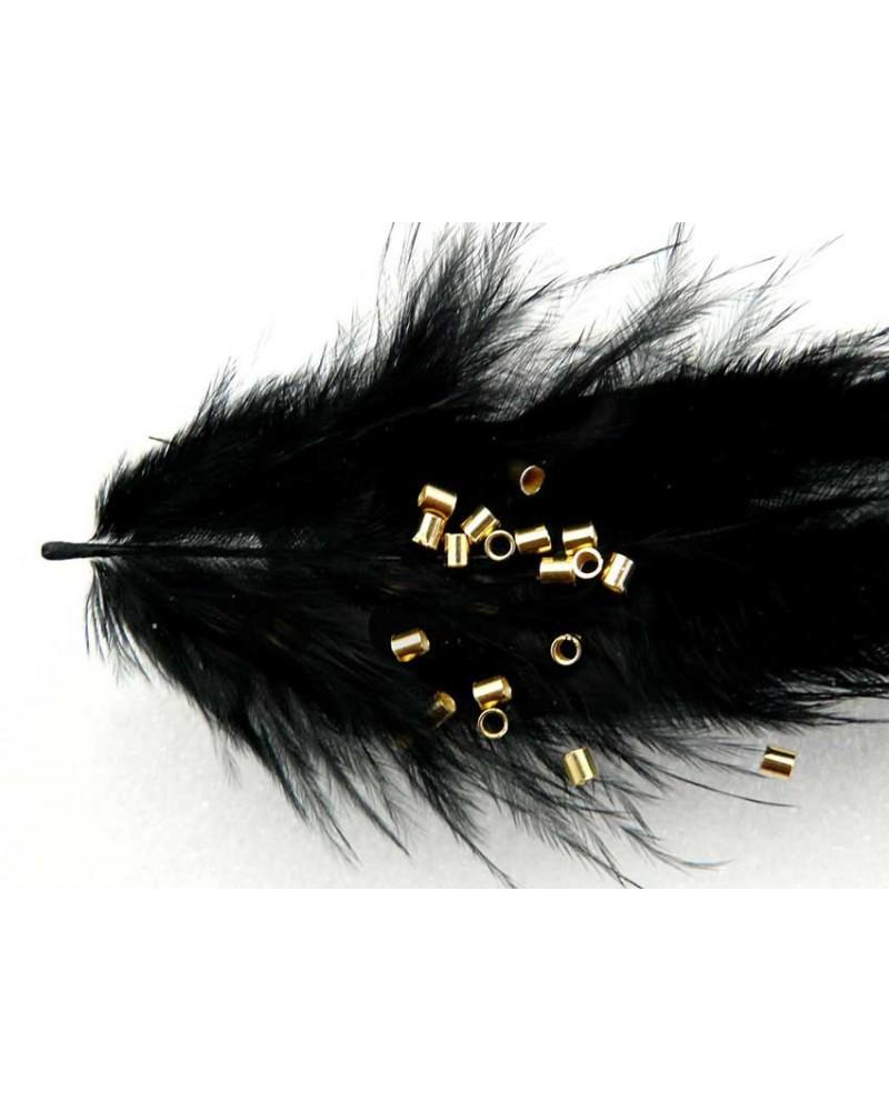 Perles à écraser tube 2x2 mm en Argent Sterling 925 plaqué or X 20