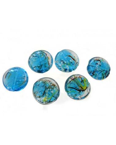 """Lentille """" nature"""" 20mm bleu turquoise X1"""