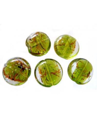 "Lentille verre ""nature"" 20mm vert anis X1"