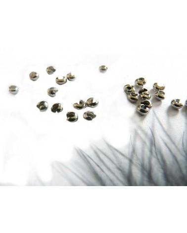 Caches perles à écraser 3mm ARGENTE X 25