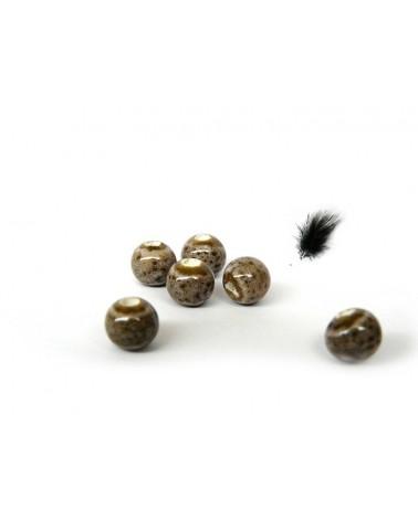 Perle céramique 6mm marron clair par 15