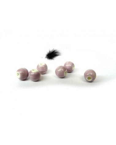 Céramique 6mm rose lilas par 15