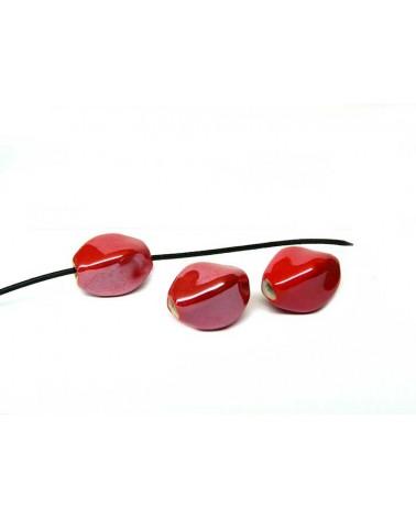 Losange en céramique 15x10mm rouge AB