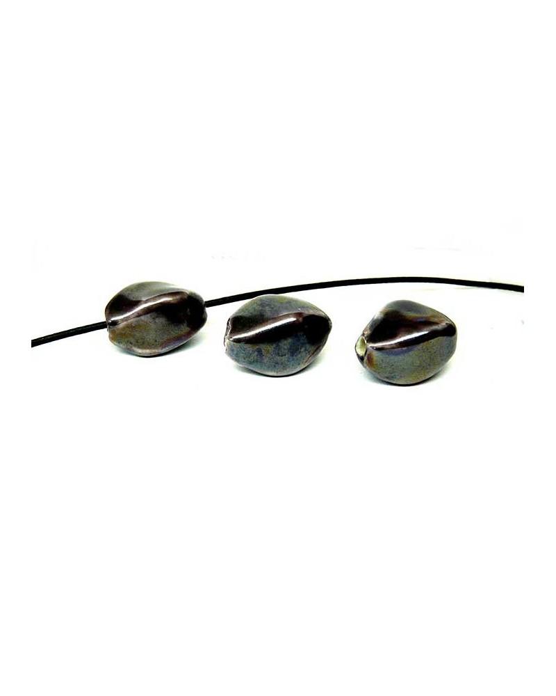 Losange en céramique 15x10mm noir AB