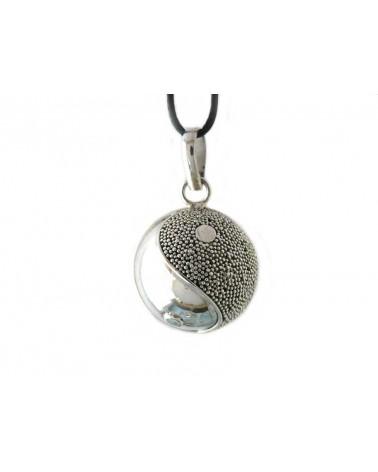 Bola de grossesse TAE (yin et yang) 22mm en Argent Sterling 925 et son cordon réglable