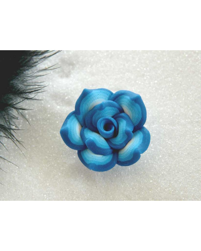 Rose Fimo 25mm turquoise X1