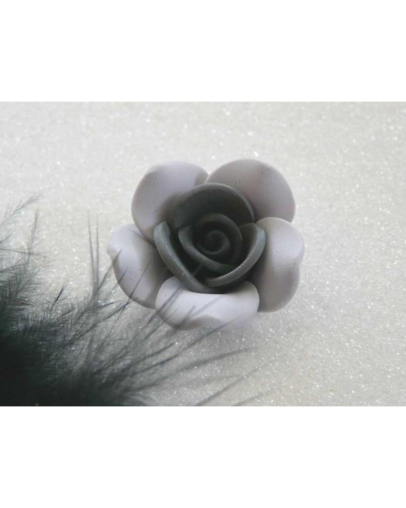 Rose Fimo 25mm  Gris coeur noir X 1