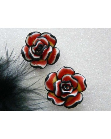 Rose Fimo 20mm Rouge jaune  X 1