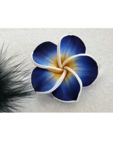 Fleur Fimo 42mm jaune bleu X1