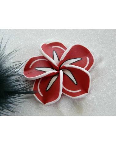 Fleur Fimo 42mm rouge liseret blanc X1