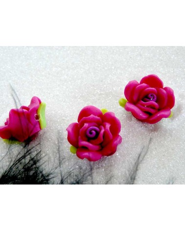 Rose Fimo 16mm Rose Fuchsia X 1