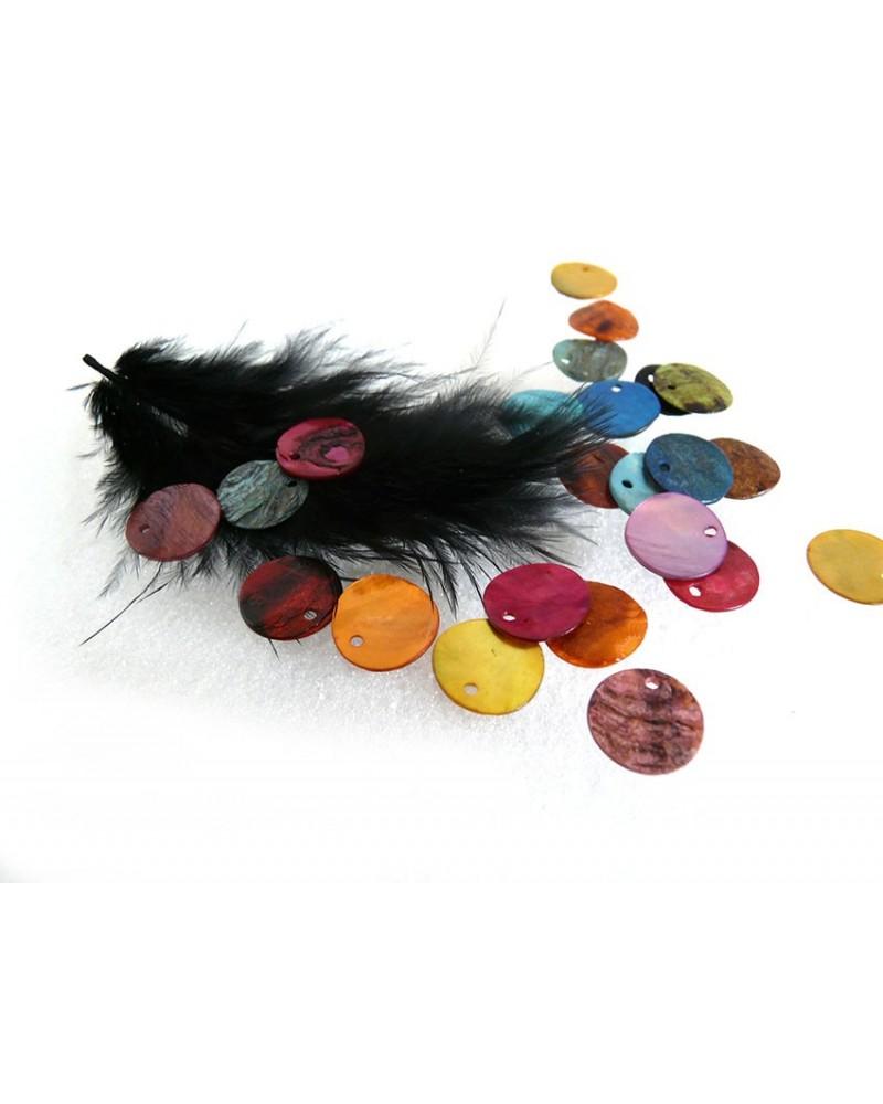 Sequins de-nacre 12mm couleurs mélangées-x25