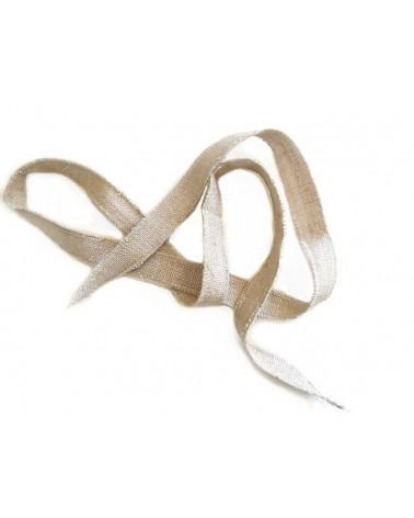 Ruban pure soie teint à la main beige ficelle 87cm