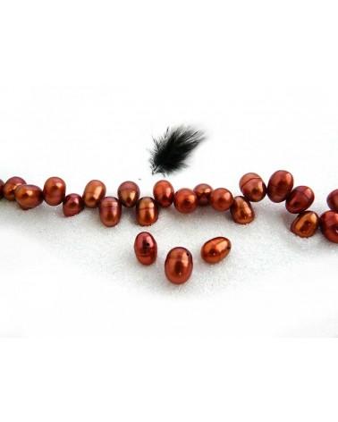 Perles d'eau douce ovales 8-10mm cuivre orange X4