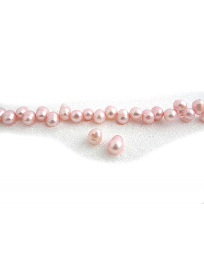 Perles d'eau douce ovales 8-10mm rose clair X4