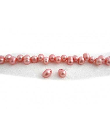Perles d'eau douce ovales 8-10mm rose X4