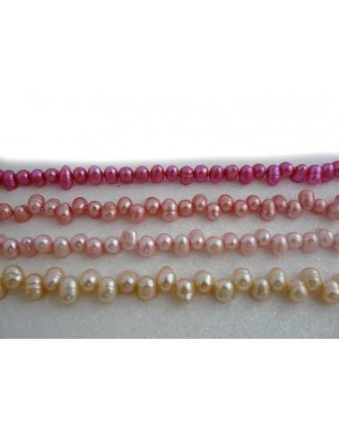 Perles d'eau douce ovales 8-10mm rose fuchsia X4