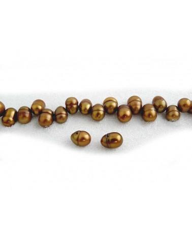 Eau douce ovales 8-10mm bronze X4