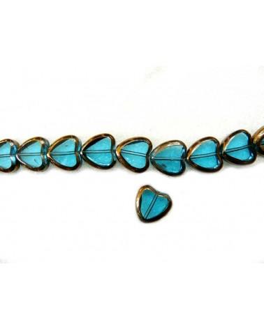 Coeur 9mm verre plaqué Bleu turquoise x1