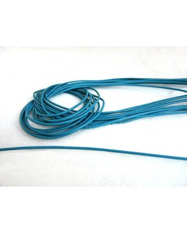 Cordon cuir Bleu turquoise 1,8mm x 105 cm x1