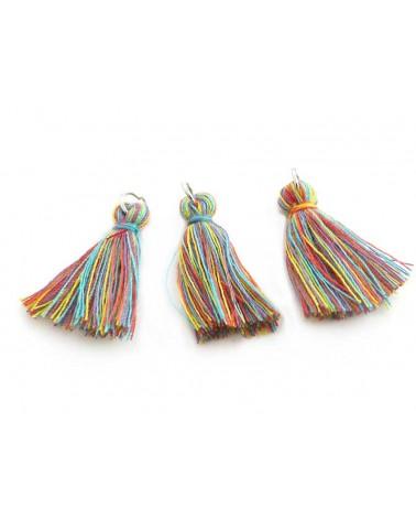 Pompon imitation coton 27-30mm E mix arc en ciel x1