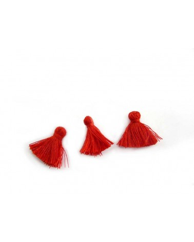 Mini Pompon satiné 15-18mm rouge vif X1