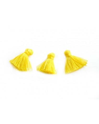 Mini Pompon satiné 15-18mm jaune citron X1