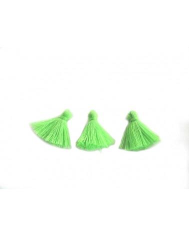 Mini Pompon satiné 15-18mm vert fluo X1