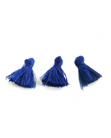 Mini Pompon satiné 15-18mm bleu indigo X1