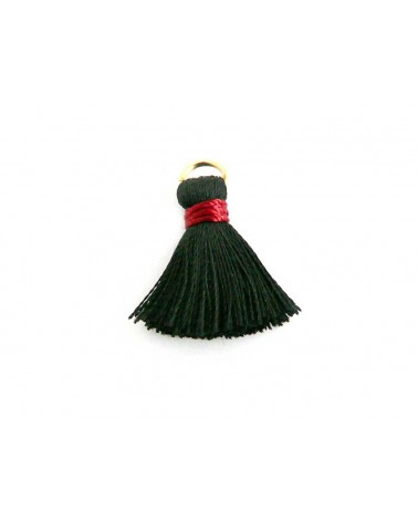Pompon soie artificielle 20mm noir et rouge X1