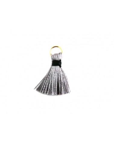 Pompon  soie artificielle 20mm gris et noir X1