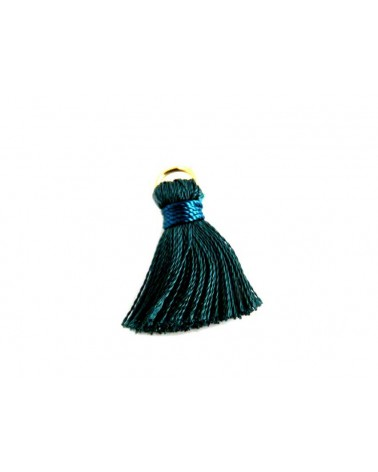 Pompon  soie artificielle 20mm bleu canard bleu X1
