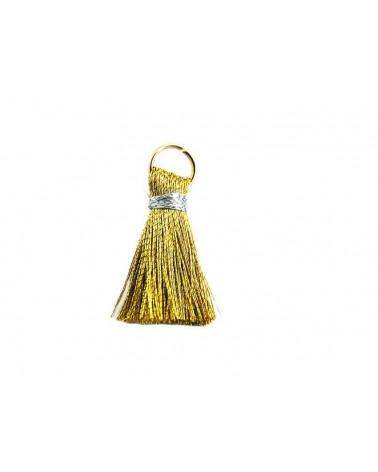 Pompon  soie artificielle 20mm doré argenté X1