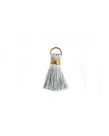 Pompon  soie artificielle 20mm argenté doré X1