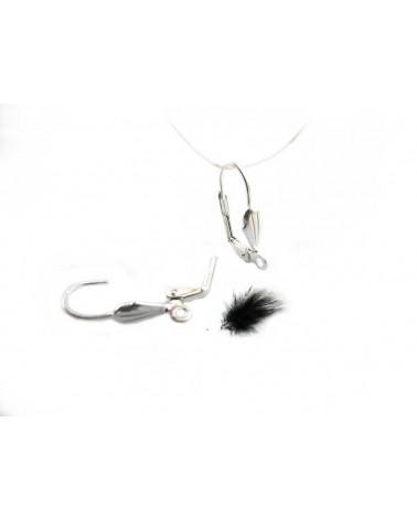 Boucles dormeuses lys 18mm argenté X 2