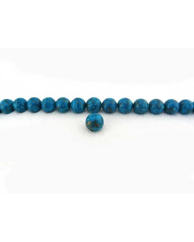 turquoise 6mm BLEU veiné-or X 15