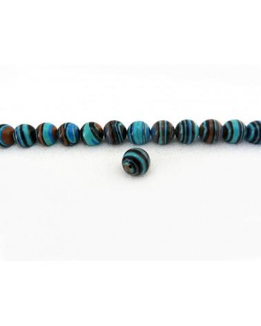 Turquoise-lisse-imitation-rayée-noir et ocre-10mm