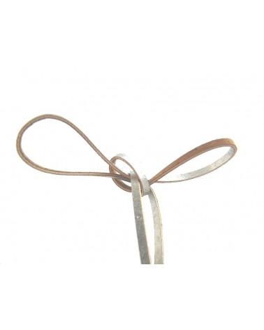 Liège cordon plat 3mm argenté x 1mètre